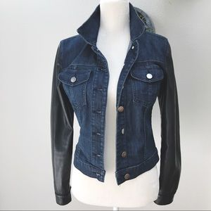 Kut From Cloth faux leather sleeve denim jacket